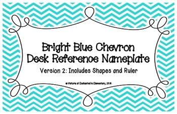 Bright Blue Chevron Desk Reference Nameplates Version 2