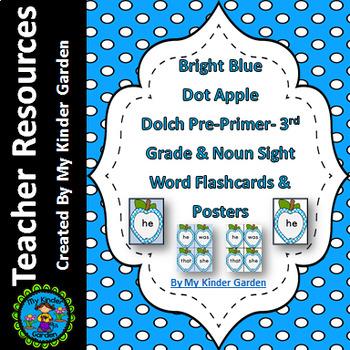 Bright Blue Dot Apple Dolch PrePrimer-3rd Grade Sight Word