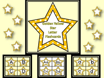 Golden Yellow Dot Star Alphabet Letter Flashcards