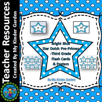 Bright Blue Dot Star Dolch PrePrimer-3rd Grade Sight Word