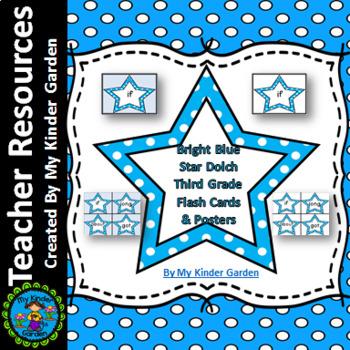 Bright Blue Dot Star Dolch Third Grade Sight Word Flashcar
