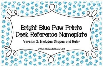 Bright Blue Paw Prints Desk Reference Nameplates Version 2