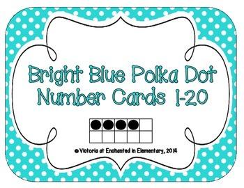 Bright Blue Polka Dot Number Cards 1-20
