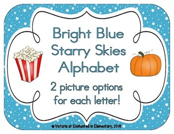 Bright Blue Starry Skies Alphabet Cards