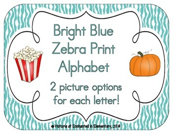 Bright Blue Zebra Print Alphabet Cards