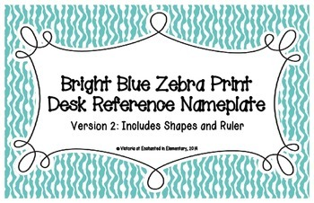 Bright Blue Zebra Print Desk Reference Nameplates Version 2