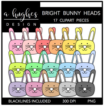 Bright Bunny Heads {Graphics for Commercial Use}