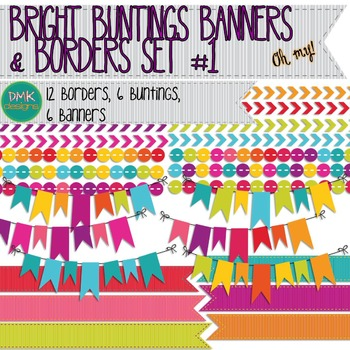 Clipart- Bright Buntings, Banners, and Borders