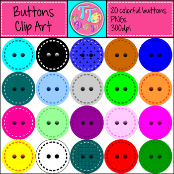 Bright Stitched Buttons Clipart CU OK