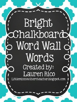 Bright Chevron Chalkboard Word Wall Words