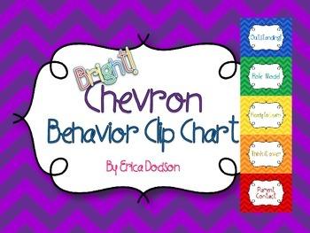 Bright Chevron Behavior Clip Chart Posters