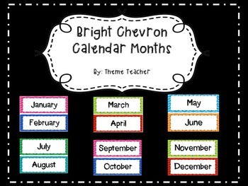 Bright Chevron Calendar Months