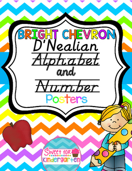 Bright Chevron D'Nealian Alphabet and Number Posters