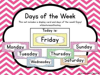 Bright Chevron Days of the Week Calendar Cards