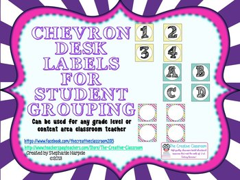 Bright Chevron Desk Labels for Student Grouping