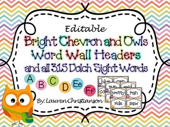 Bright Chevron & Owl Word Wall Headers and ALL 315 Dolch S
