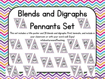Bright Chevron Phonics Blends and Digraphs Pennant Flags