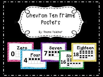 Bright Chevron Ten Frame Posters