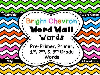 Bright Chevron Word Wall Cards-Editable