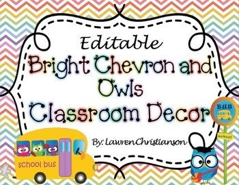 Bright Chevron and Owls Classroom Decor & Organization (ED