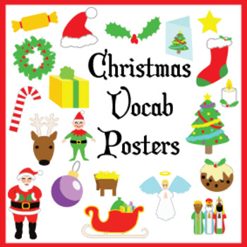 Bright Christmas Vocab Posters - 2 versions!