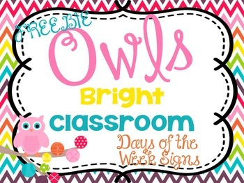 Bright Classroom Decor Days of the Week Signs FREEBIE {Owl Theme}