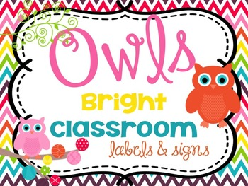Bright Classroom Labels, Word Wall Letters and Signs {Owl