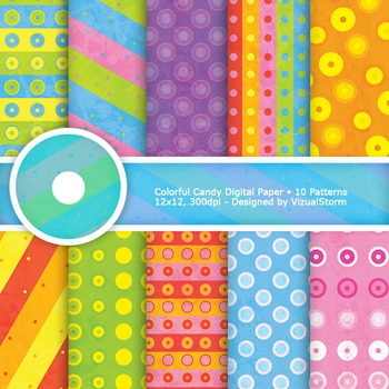 Colorful Candy Digital Paper, 10 Printable Stripes and Pol