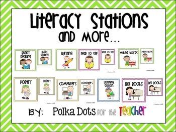 Bright Colored Chevron Literacy Stations