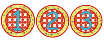 Bright Colored Circles - Numbers 0 - 9