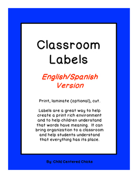 Classroom Labels - English/Spanish Bright Colored