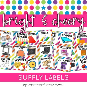 Classroom Decor: Bright and Cheery [Editable School Supple
