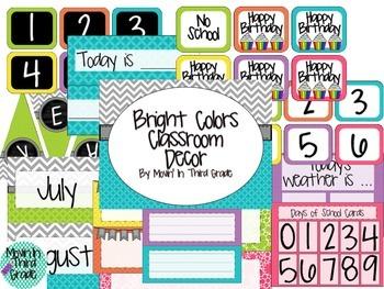 Bright Colors Classroom Decor Pack