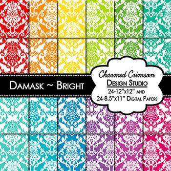 Bright Damask Digital Paper 1409