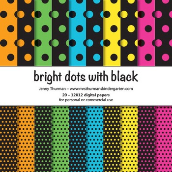 Bright Dots with Black Digital Papers