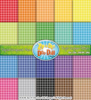 Bright Gingham Pattern Digital Scrapbook Pack — Basic Bund