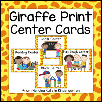 Bright Giraffe Pocket Chart Station Cards