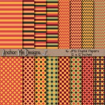 Autumn Love (Fall Colors) Chevron, Polka Dot & Striped Paper Pack