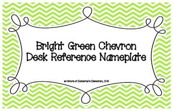 Bright Green Chevron Desk Reference Nameplates
