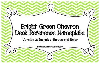 Bright Green Chevron Desk Reference Nameplates Version 2