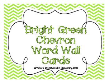 Bright Green Chevron Word Wall Cards