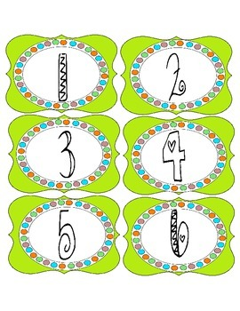 Bright Green Number Labels