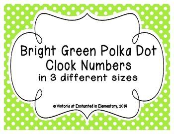 Bright Green Polka Dot Clock Numbers