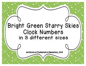 Bright Green Starry Skies Clock Numbers