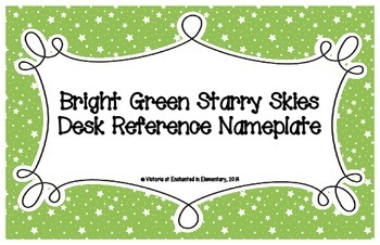 Bright Green Starry Skies Desk Reference Nameplates