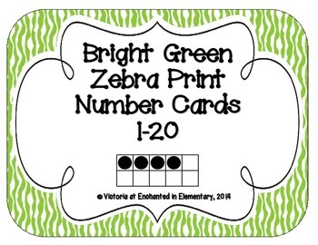 Bright Green Zebra Print Number Cards 1-20