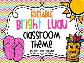 Bright Hawaiian Luau Classroom Jobs- editable, bright, colorful