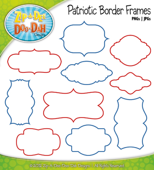 Bright July 4th / Patriotic Border Frames — 10 Colorful Graphics!