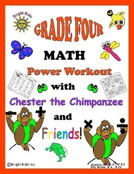 Bright Kids Grade 4 Math Power Workout - Save Time! Just P