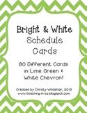 Bright Lime & White Chevron Schedule Cards